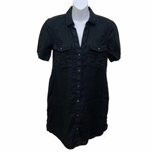 JAMES PERSE LINEN UTILITY SHIRT DRESS BLACK